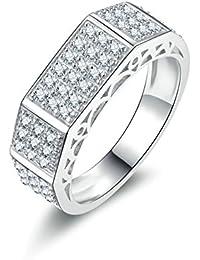 Aooaz Gioielli anello fascia anello fidanzamento anello argento sterling Rettangolo Argento anelli donna anello zirconi