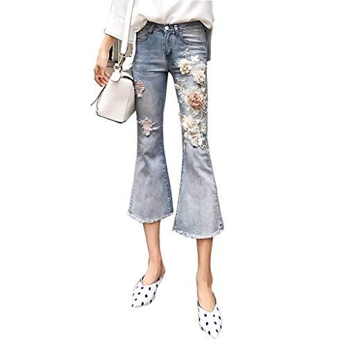Bekleidung Jeans Der Frauen Zerrissene Micro-Large Jeans Gestickte Stretchhose Dünne Flare-Hose Hochwertiger Stoff Atmungsaktiv Damen (Color : Blue, Size : 29) -