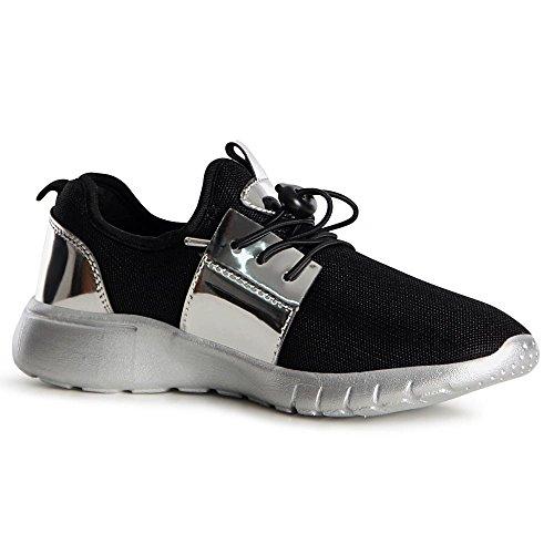 topschuhe24, Sneaker donna Nero/Argento