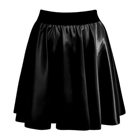 Women Ladies Sexy High Waist Faux Leather Wetlook PVC Flare Skater Mini Skirt Size 8-14 (M/L