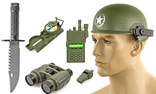 XXL-Set Army Soldat Soldier Kinder Kostüm Spielzeug Karneval Verkleidung mit Zubehör Fasching Helm Pfeife Funk Kompass Knife Messer Fernglas