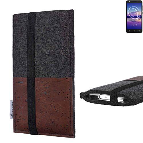 flat.design Handy Hülle Sintra für Alcatel U5 HD Single SIM Handytasche Filz Tasche Schutz Kartenfach Case braun Kork