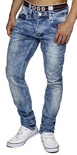 LEIF NELSON Herren Jeanshose Jeans Hose Chino Low Rise Skinny Slim Fit (W32/L34, Blau)  