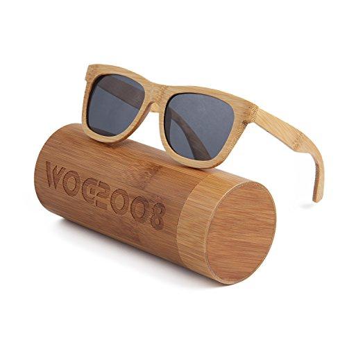 LUI SUI Gafas de sol polarizadas de bambú para mujer para conducir el golf de la pesca al aire libre (Gris)