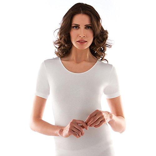 Liabel 2 camiciola donna mezza manica caldo cotone girocollo bianco art. 02828/d26 (3/s)