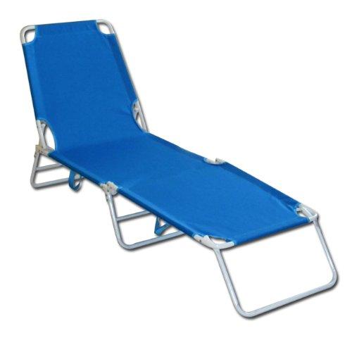 Lettino da spiaggia brandina prendisole da giardino in ferro blu
