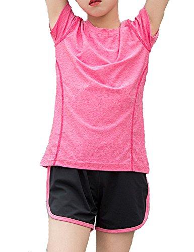 Echinodon Mädchen Sport-Set Schnelltrockend Shirt + Shorts Anzug für Yoga Jogging Training Rosa 160
