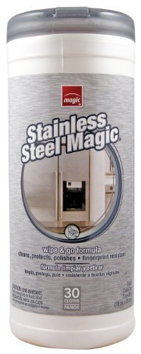 Magic Stainless Steel Magic Wipes Canister 30 Count by Weiman Products Llc (English Manual)