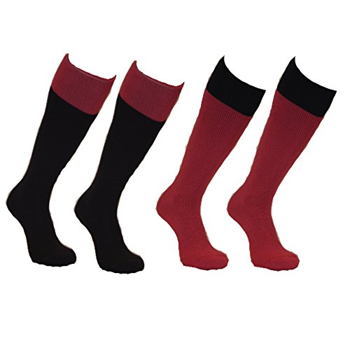 Sockmine 2 Pack Merino Wool Welly Socks - (2 pairs) - 1 Pink Pair and 1 Purple Pair. (4-5.5)