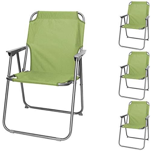 Wohaga 4 Stück Campingstuhl mit Armlehnen, klappbar, Jade Grün, Klappstuhl Faltstuhl Gartenstuhl Strandstuhl Anglerstuhl