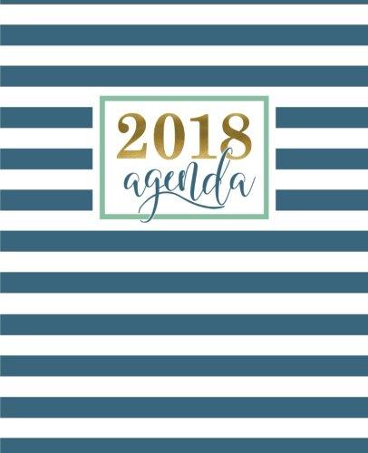 Agenda: 2018 Agenda semainier : 19x23cm : Motif tendance avec bandes géométriques bleu canard par Papeterie Bleu