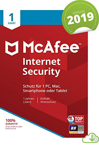 McAfee Internet Security 2019 | 1 Geräte | 1 Jahr | PC/Mac/Smartphone/Tablet | Download [Online Code]