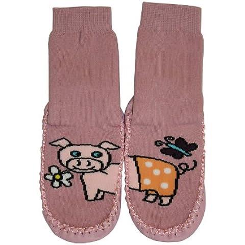 Tobeni - Zapatillas/calcetines con suela de piel, diseño de animales divertidos Schwein Talla:30 - 31