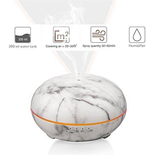 300ML Aromatherapie Ätherisches Öl Diffusor Marmor Textur Luftbefeuchter Duftöldiffusoren Luft Filter Einstellbar Nebel Modus Wasserlos Auto Abschaltung zum Zuhause Büro Baby Zimmer - Textur-nebel