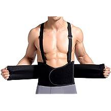 TININNA Faja Fuerza Soporte Cintura Espalda Lumbar Ajustable Elástica Back Support Belt(with Adjustable Suspenders) XL