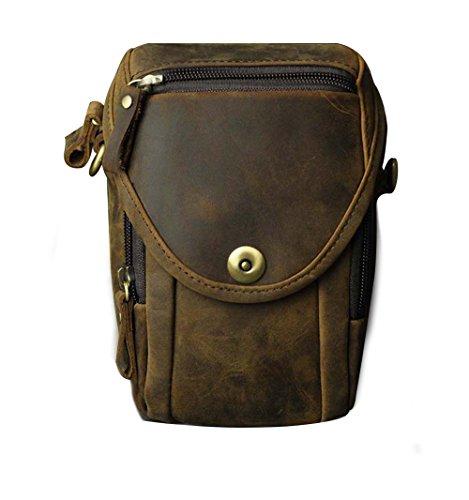 Genda 2Archer Herren Vintage Leder Geldbeutel Mini Satchel Umhängetasche Gürteltasche (KZ269 Braun 2) - Mini-satchel