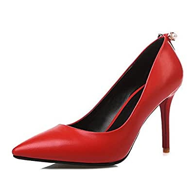 BalaMasa Girls Metal Ornament Bead European Style Red Imitated Leather Pumps-Shoes - 5.5 UK
