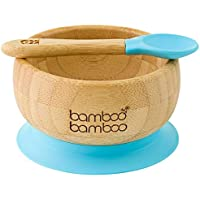 Baby Suction Bowl and Matching Spoon Set, Suction Stay Put Feeding Bowl, Natural Bamboo