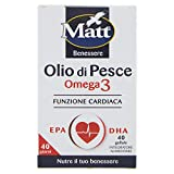 Matt&Diet - Olio di Pesce - Integratore Alimentare di Omega 3 per la Funzione Cardiaca - Trattamento 40 Giorni - 29 gr