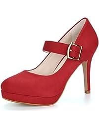 Allegra K Damen Rund Kopf Stöckelabsatz hohe Absatz hohe Hacke Mary Jane Pumps, Rot/EU 36