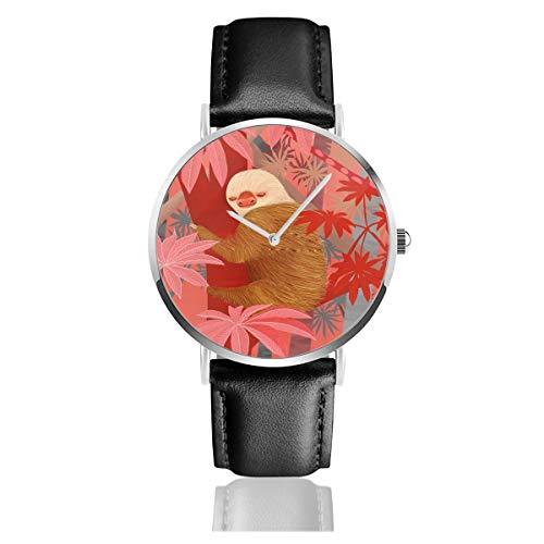 Technicolor Jungle Reloj clásico de Acero Inoxidable con Correa de Cuero