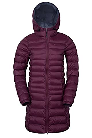 Mountain Warehouse Florence Women's Long Padded Jacket - Water-Resistant, Lightweight Microfiber Filler with Two Front Pockets - Perfect for Light Showers Burgundy
