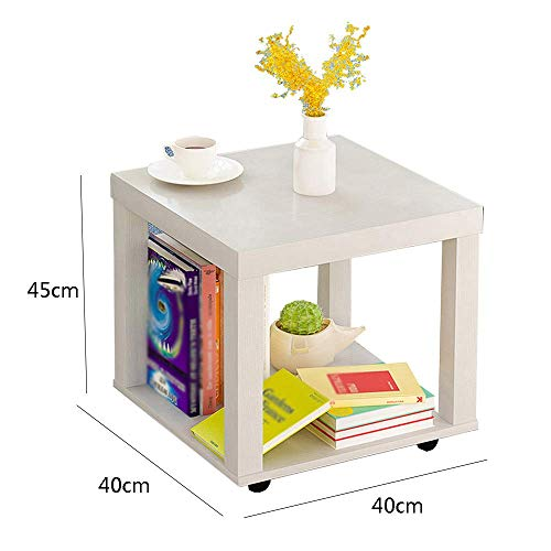 YueQiSong Modern Minimalist Living Room Sofa Side Table Small Coffee Table Living Room Dining Room Small Table, White, 40 * 40 * 45cm