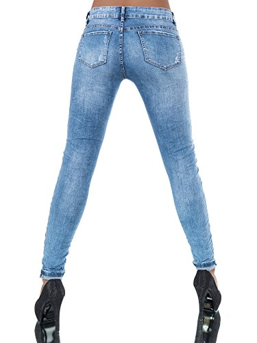 N037 Damen Jeans Hose Hüfthose Damenjeans Chinojeans Boyfriend Röhrenjeans Baggy Blau