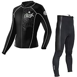 Unisexe Néoprène Combinaison de Surf Veste Pantalon de Costume de plongée Manche Longue Maillot de Bain pour Surf Kayak Le canoë Snorkeling - 2.0mm,Jacket,L