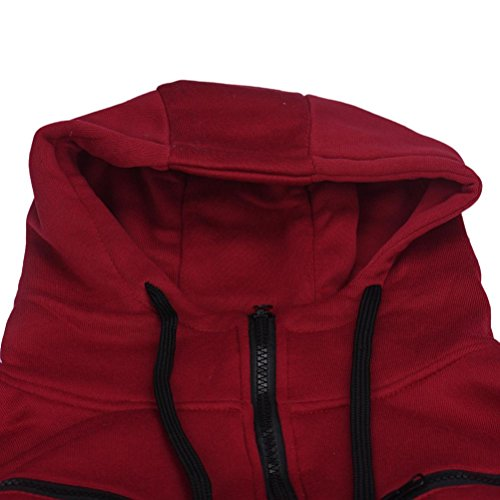 Tonsee Hommes élégant chaud Sweat à capuche Zipper Coat Jacket Outwear Sweater Rouge