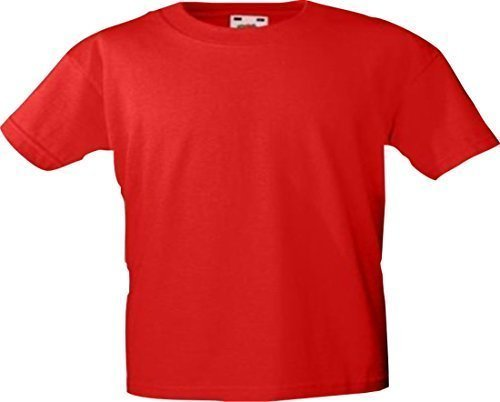 ShirtInStyle Kinder-Shirt Basic UNI Fruit of the Loom, Farbe Rot, Größe 116 (Basic-langarm-lycra-shirt)