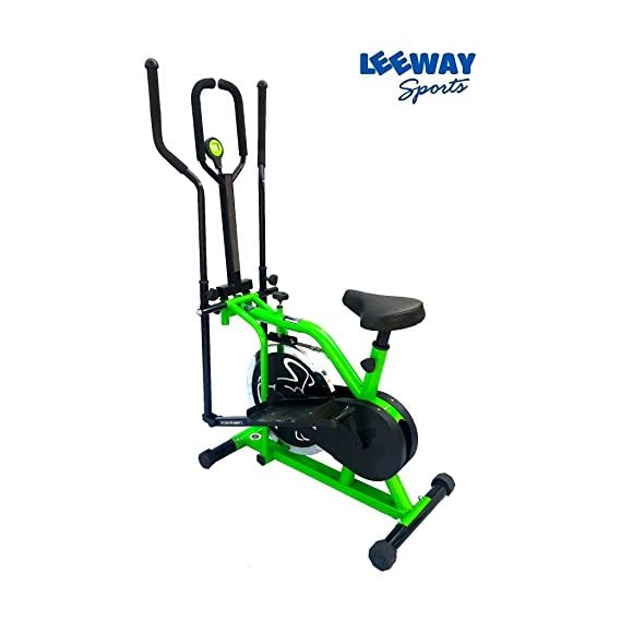 Leeway Orbitrac Elliptical Steel Wheel 2 in 1 Exercise Bike| Orbitrack Dual Action (Sitting Pedaling/Standing Rowing) Trainer with Seat Orbitrek| Aerobic Training Machine| Exercise Cycle| (Green)