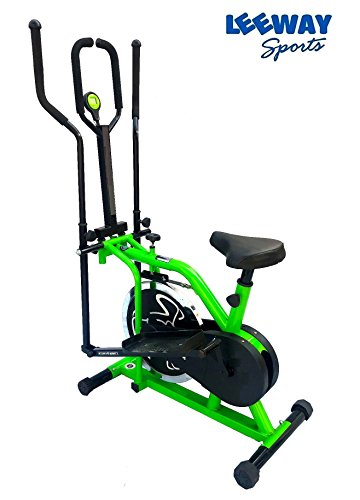 Leeway Orbitrac Elliptical Steel Wheel 2 in 1 Exercise Bike| Orbitrack Dual Action (Sitting Pedaling/Standing Rowing) Trainer with Seat Orbitrek| Aerobic Training Machine| Exercise cycle| (GREEN)  available at amazon for Rs.12989