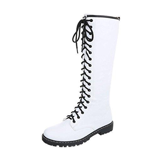 Ital-Design Schnürstiefel Damen-Schuhe Klassischer Stiefel Blockabsatz Schnürer Reißverschluss Stiefel Weiß, Gr 36, Nc82-