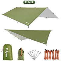Unigear Hammock Rain Fly Tent Tarp 3m x 3m(4m),Portable Lightweight Waterproof Windproof Snowproof Camping Shelter for Snow Sunshade for Camping Outdoor Travel