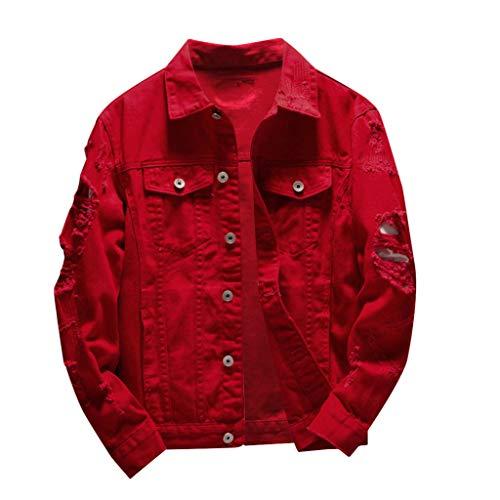KPILP Männer Ripped Denim Jacket Oversize Jeansjacke Stretch Jeans Jacke mit Revers Pullover Leichte Jacke Destroyed Look Übergangsjacke Streetwear Herbst Winter