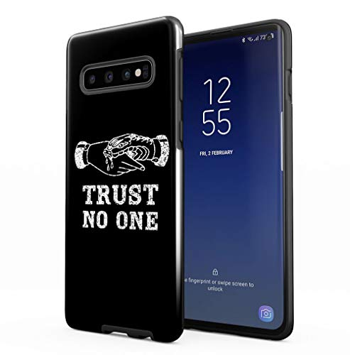 Maceste Trust No One Black Tumblr Quote Compatible with Samsung Galaxy S10 Silicone Inner & Outer Hard PC Shell 2 Piece Hybrid Armor Case Cover -