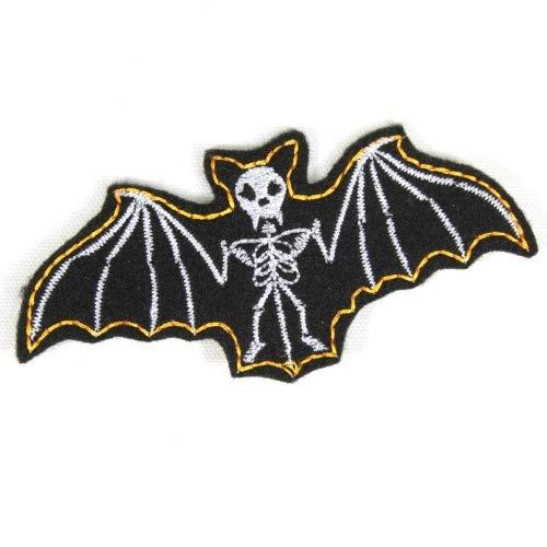 Fledermaus Aufnäher Skelett zum aufbügeln Vampir Bügelflicken Knochen Bügelbild 4,7 x 10 cm Flicken zum aufbügeln Halloween Aufbügler für Kostüm Fasching Karneval