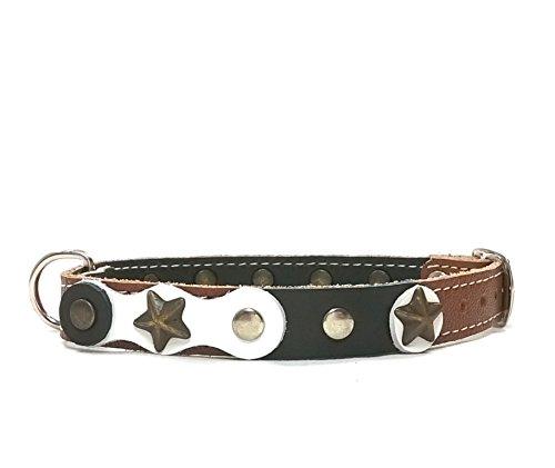 Handgemacht Braun Leder Hundehalsband für Welpen, Kleine und Mittelgrosse Hunde, Ausgefallen Cool mit Schwarz Weiß Lederstücke, Nieten und Sterne, 40 cm: S - Halsumfang 30-35 cm - Breit 15mm -