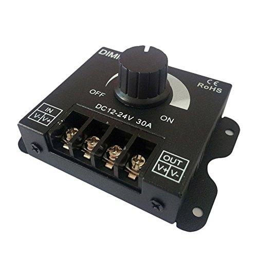 Alftek Dimmer, regolatore dell\'intensità della luce, a LED, CC da 12 V - 24 V, 30 A, luminosità regolabile, per regolare lampadine a colore singolo e strisce a LED