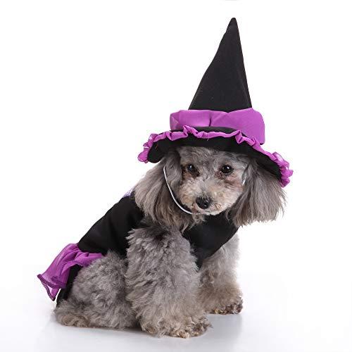JNTM Hund Zauberer Kostüm, Halloween Lustiger Zauberer Mantel Mit Hut Haustier Kostüm Halloween Kostüm Kopfbedeckung Cosplay Zubehör Für Katzen Und Kleine - Ideen Für Ein Zauberer Kostüm
