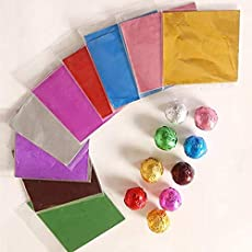 MOUNT Assorted Colour Foil Wrappers for Chocolate, 9.5 x 9.5 cms Approx, Approx 300 pcs, Chocolate Wrapping Sheet