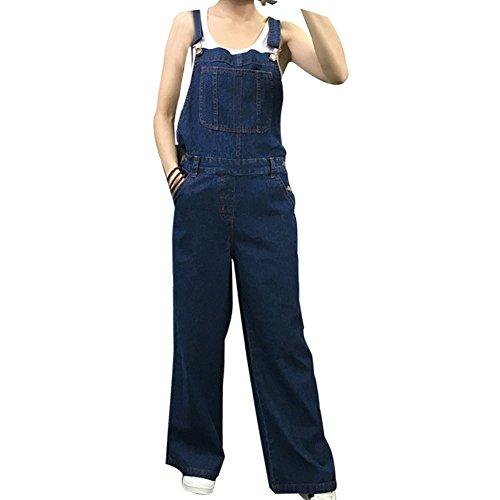 BOMOVO- Salopette- Pagliaccetto- Jeans- A zampa- Gamba larga- Donna