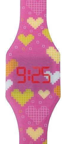 Digitale Uhr LED für Mädchen, Kinder und Jugendliche, Armbanduhr, aus weichen Silikon, ein stilvolles Geschenk, mit Herzen, Kiddus
