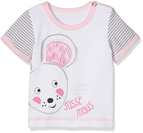 Adelheid Baby-Mädchen T-Shirt Süße Maus Bio Leibchen k. A. Albglück, Weiß (Blütenweiss 100), 74 (Herstellergröße:74/80) (Glücks Bio-baumwoll-t-shirt)