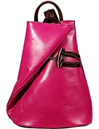 attractive rosa mochila de cuero Nilde Fuxia Marrone