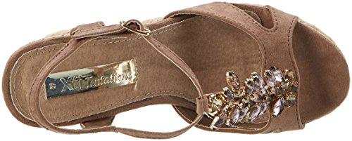 XTI - Taupe Microfiber Ladies Sandals ., Scarpe con plateau Donna Marrone e (Taupe)