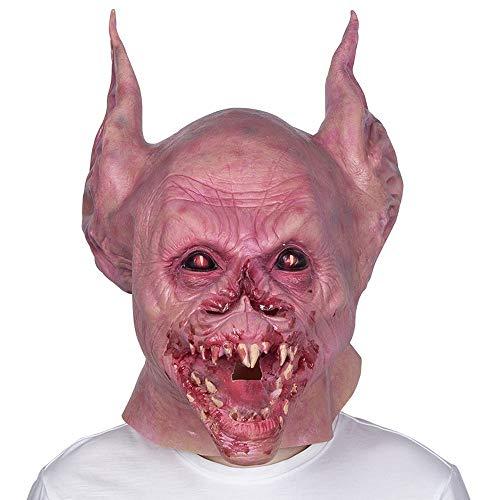 YEAYROWN Fledermaus Monster Vampir Zähne Halloween Maske Horror beängstigend Latex Tiermaske Kopfbedeckung
