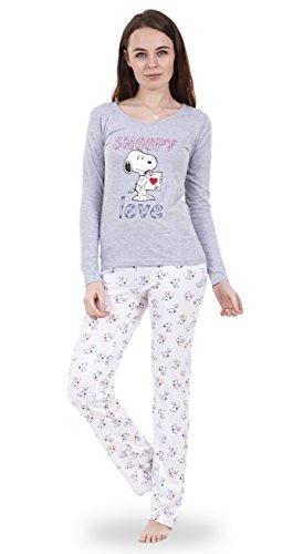 Snoopy Snoopy-Schlafanzug für Damen mit langen Ärmeln Mickey Minnie Mouse Pyjama für Damen Nachtwäsche
