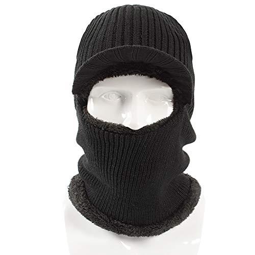 Qianqian QIAN Winter Outdoor Sports Men's Hat Skiing Earmuffs Bib Sleeve One Piece Cap, Black